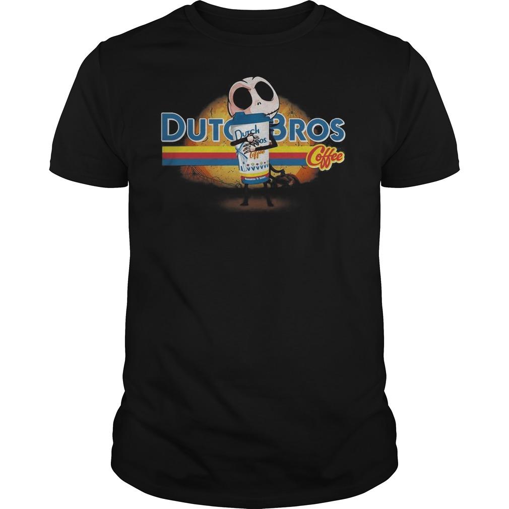 Jack Skellington hug Dutch Bros coffee Halloween Guys t-shirt