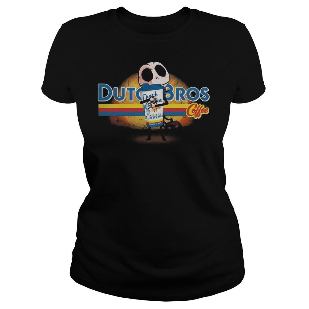 Jack Skellington hug Dutch Bros coffee Halloween Ladies t-shirt