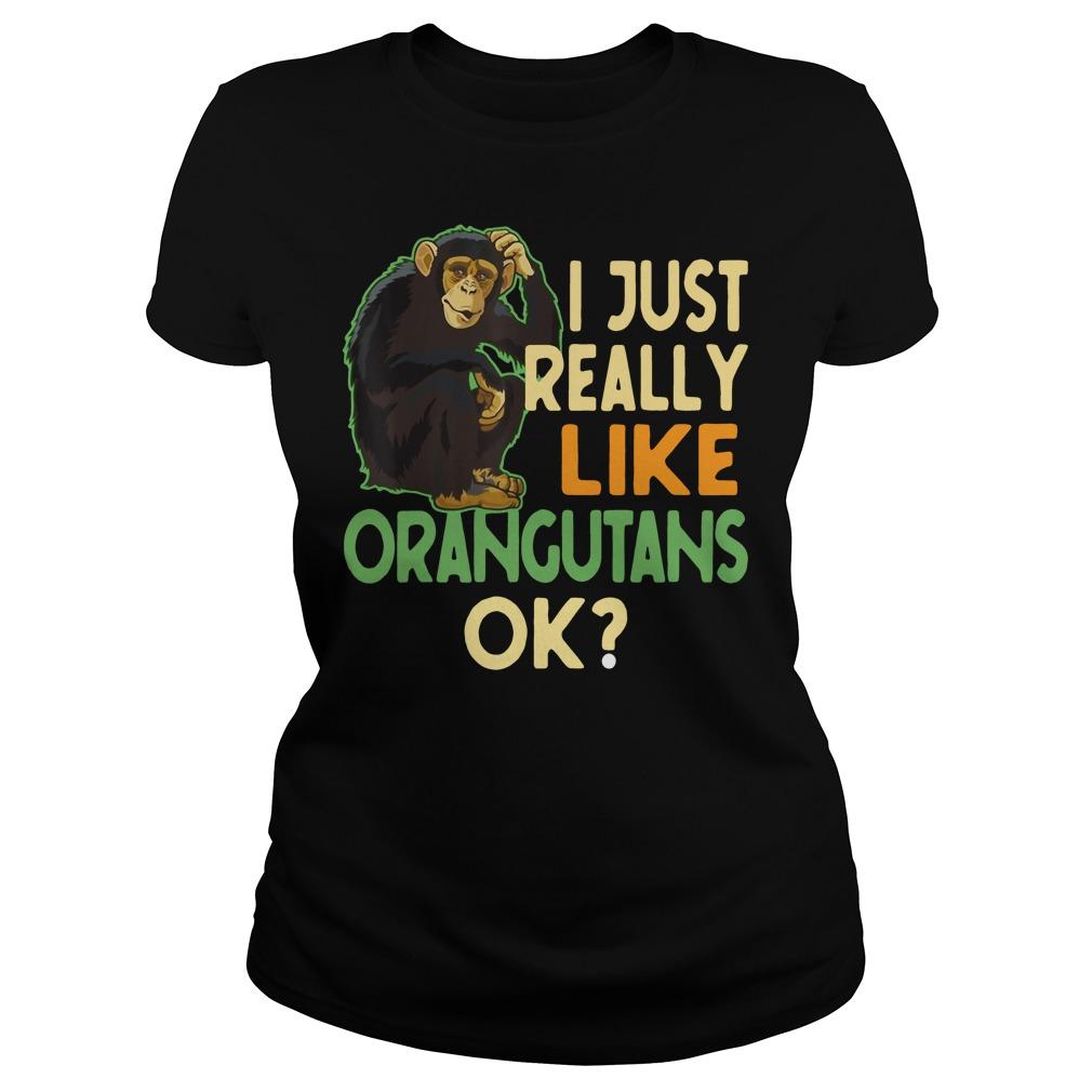 I just really like Orangutans ok Ladies t-shirt