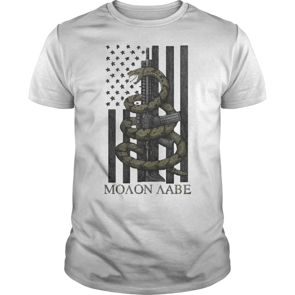 Nice Gadsden Snake Moaon Aabe American flag Guys t-shirt