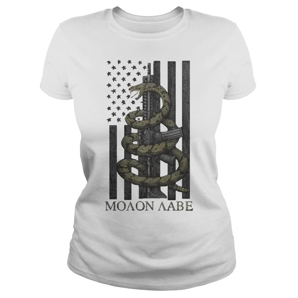 Nice Gadsden Snake Moaon Aabe American flag Ladies t-shirt