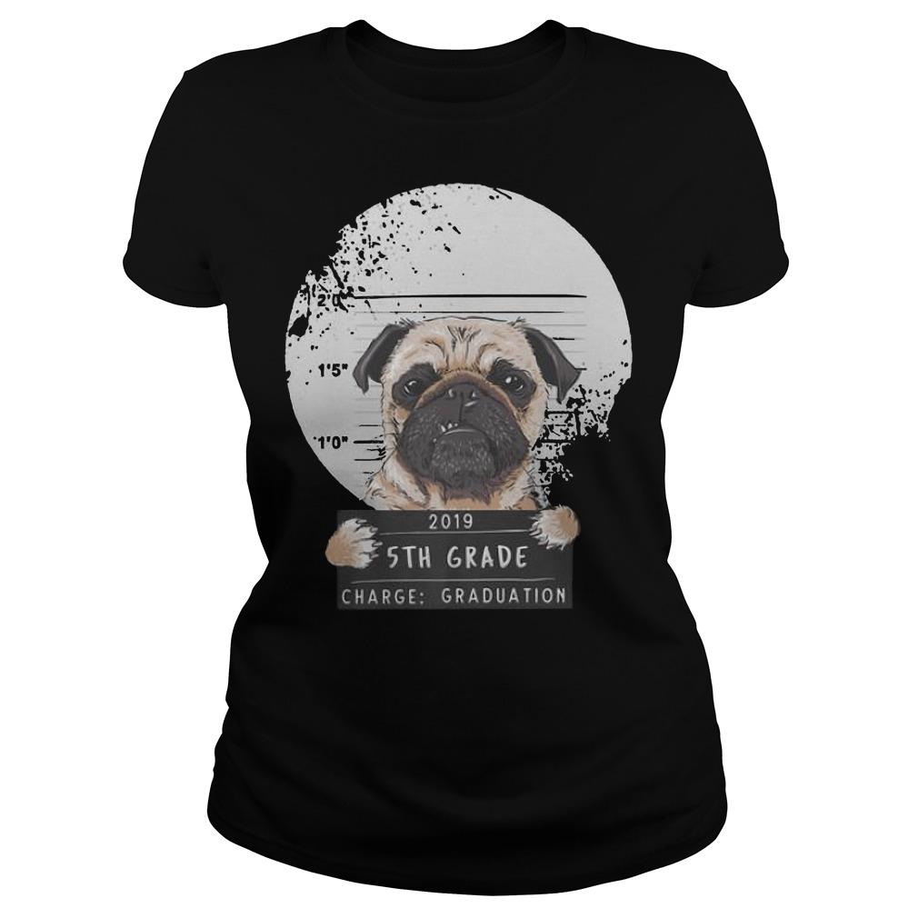 5th Grade 2019 Bad Puggy Pug Charge Graduation Premium Ladies t-shirt
