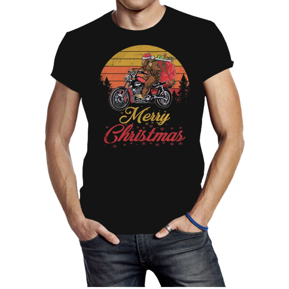 Bigfoot Santa riding motorcycle Delivers Christmas gifts shirt