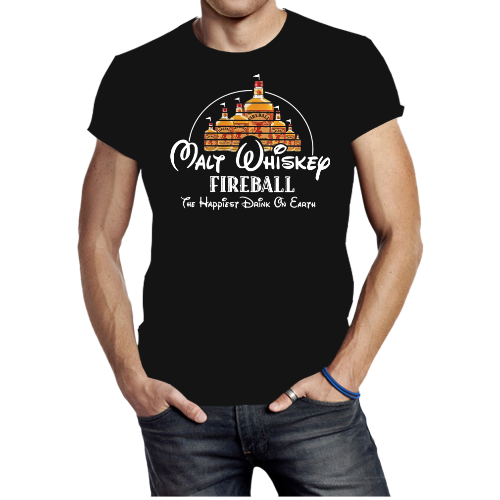 Disney Malt Whiskey Fireball the happiest drink on earth shirt