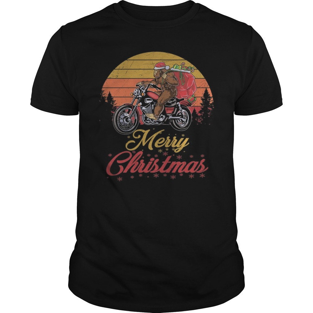 Bigfoot Santa riding motorcycle Delivers Christmas gifts Guys t-shirt