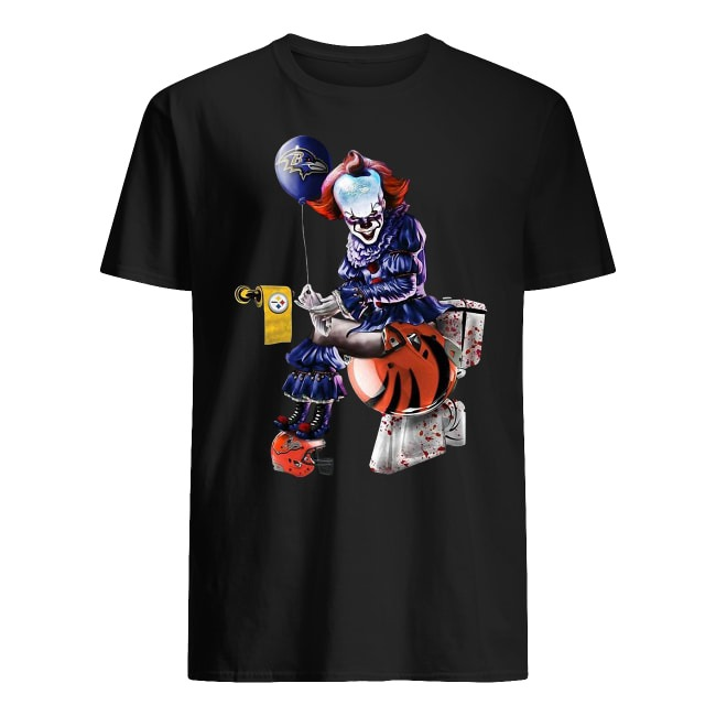 Pennywise Baltimore Ravens Pittsburgh Steelers Cleveland Browns toilet Guys t-shirt