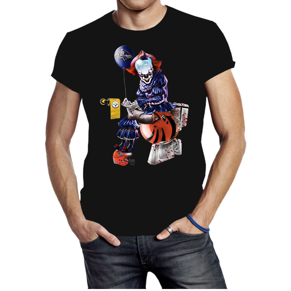 Pennywise Baltimore Ravens Pittsburgh Steelers Cleveland Browns toilet shirt