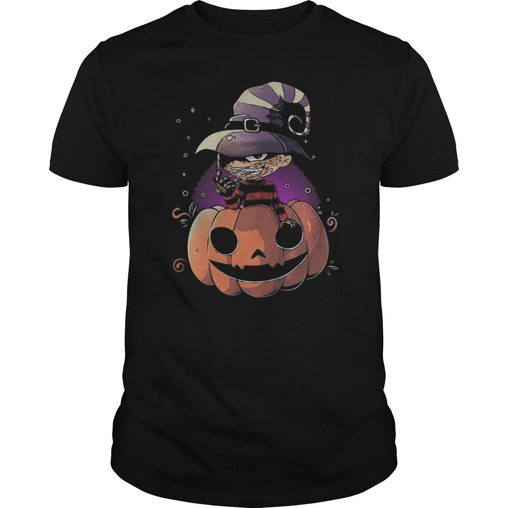 Freddy Krueger chibi on pumpkin Halloween Guys t-shirt