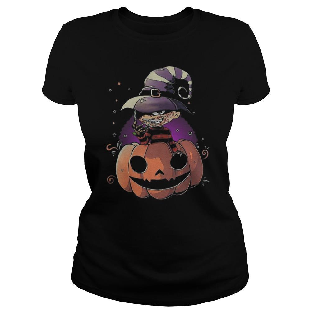 Freddy Krueger chibi on pumpkin Halloween Ladies t-shirt