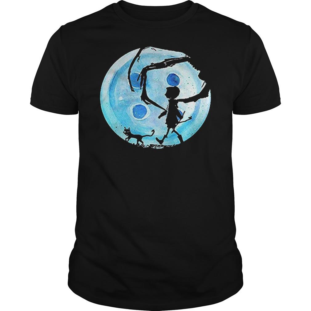 Full Moon Nightmare Cat Halloween Horror Coraline Blue Guys t-shirt
