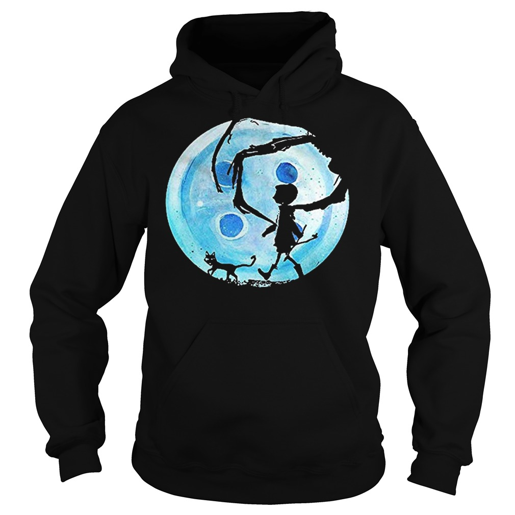 Full Moon Nightmare Cat Halloween Horror Coraline Blue Hoodie
