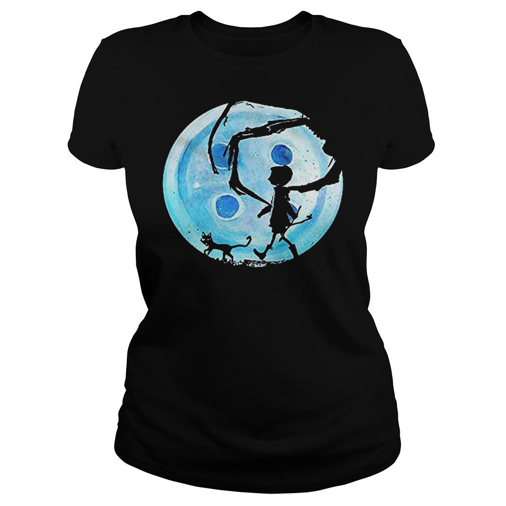 Full Moon Nightmare Cat Halloween Horror Coraline Blue Ladies t-shirt