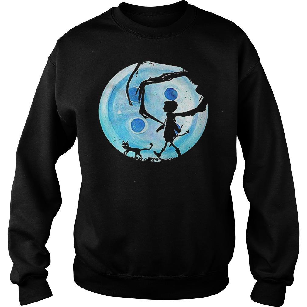 Full Moon Nightmare Cat Halloween Horror Coraline Blue Sweater
