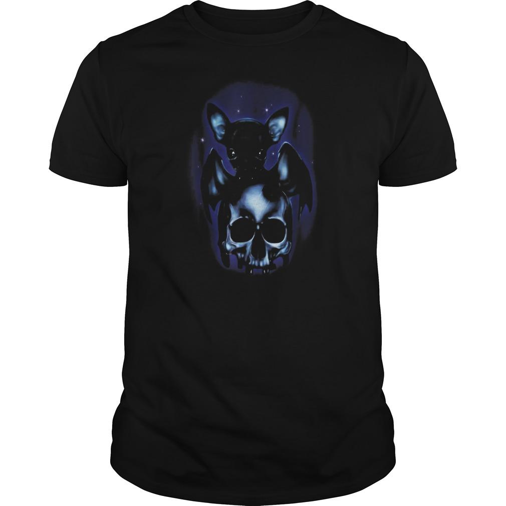 Halloween is coming dog chihuahua bat skull Guys t-shirt