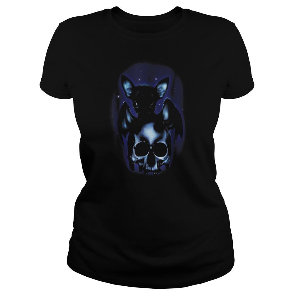 Halloween is coming dog chihuahua bat skull Ladies t-shirt