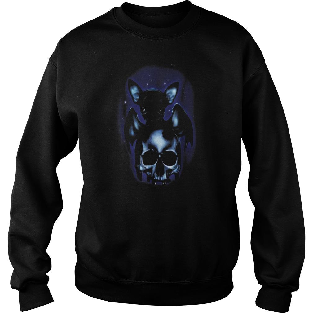 Halloween is coming dog chihuahua bat skull Sweater