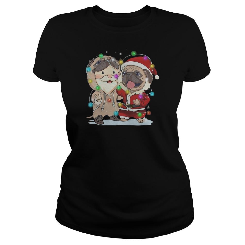 Pug Santa Claus Christmas Ladies t-shirt