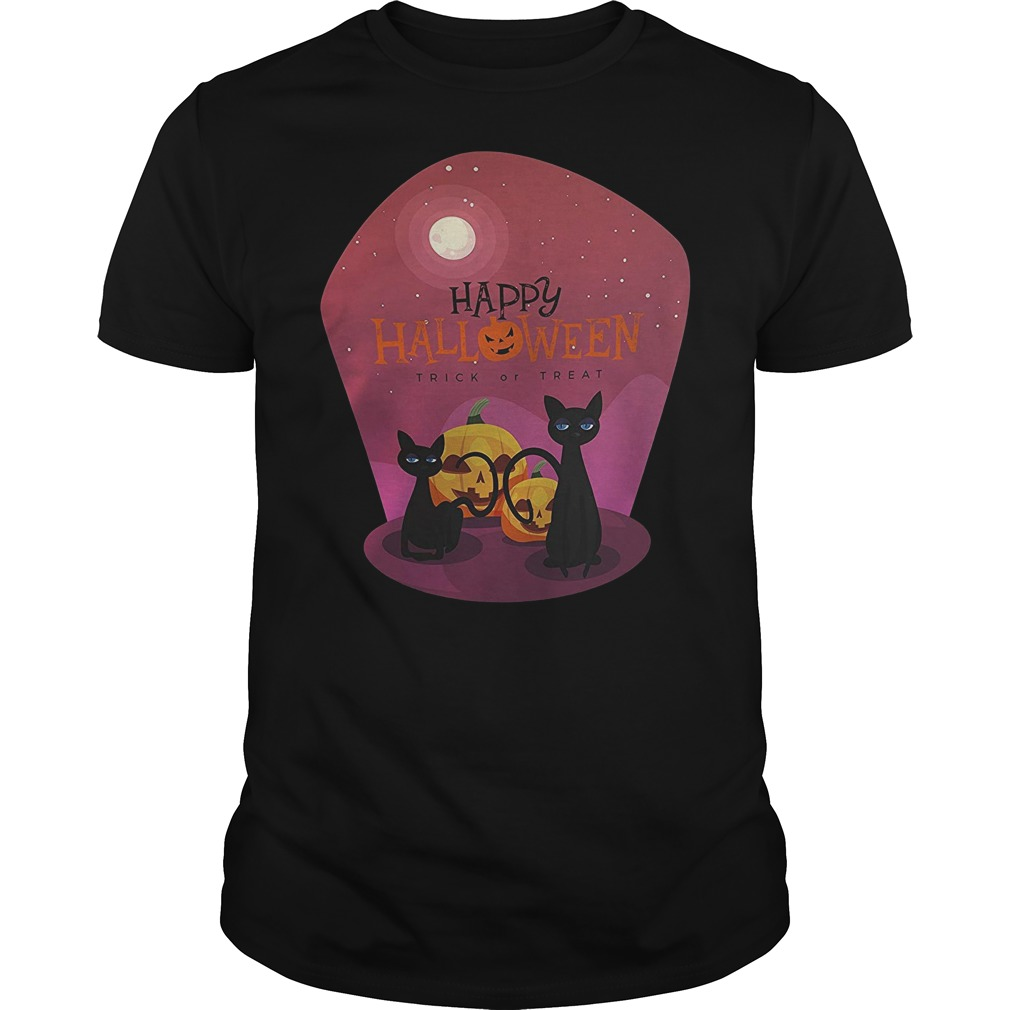 Pumpkin with black cat happy Halloween trick or treat Guys t-shirt