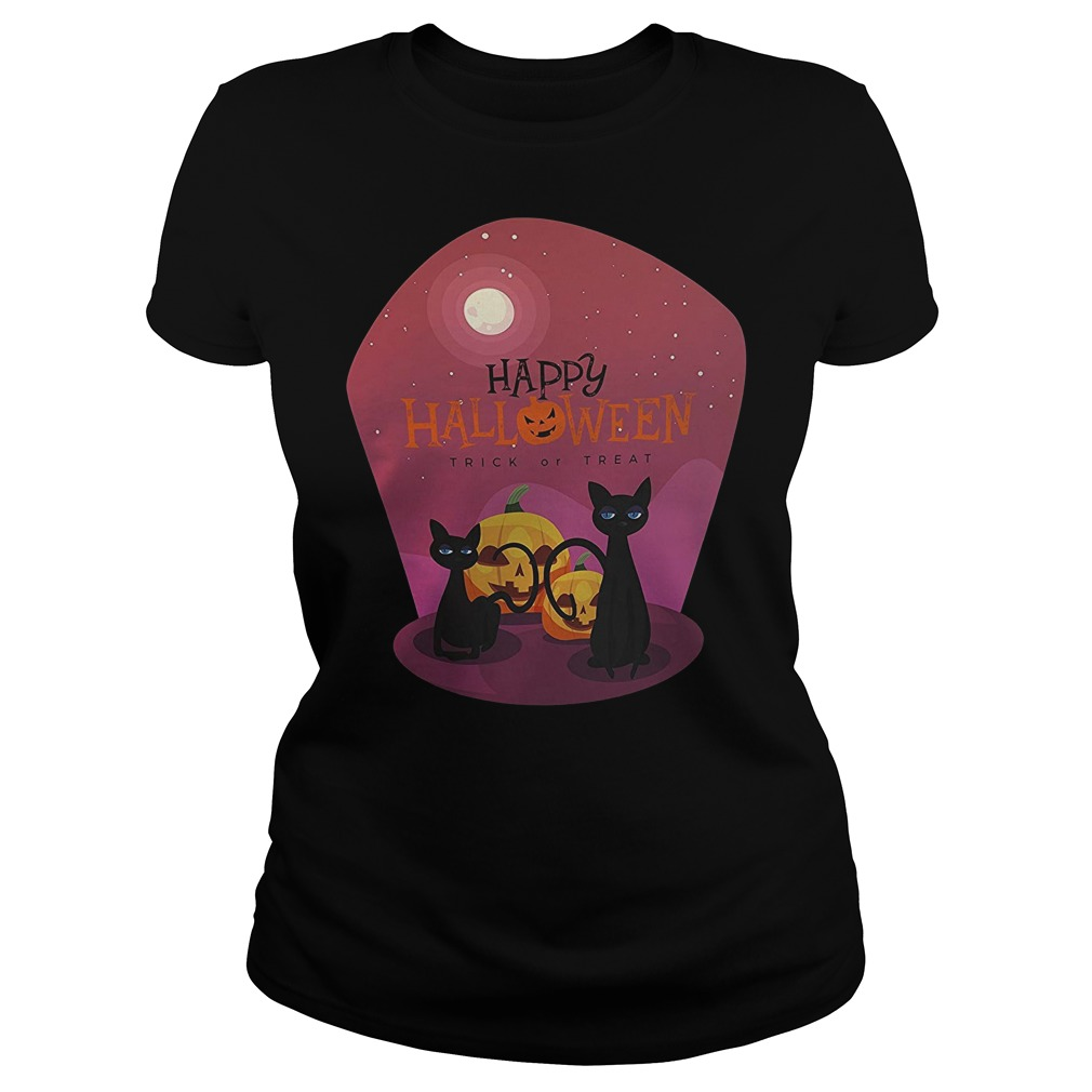 Pumpkin with black cat happy Halloween trick or treat Ladies t-shirt