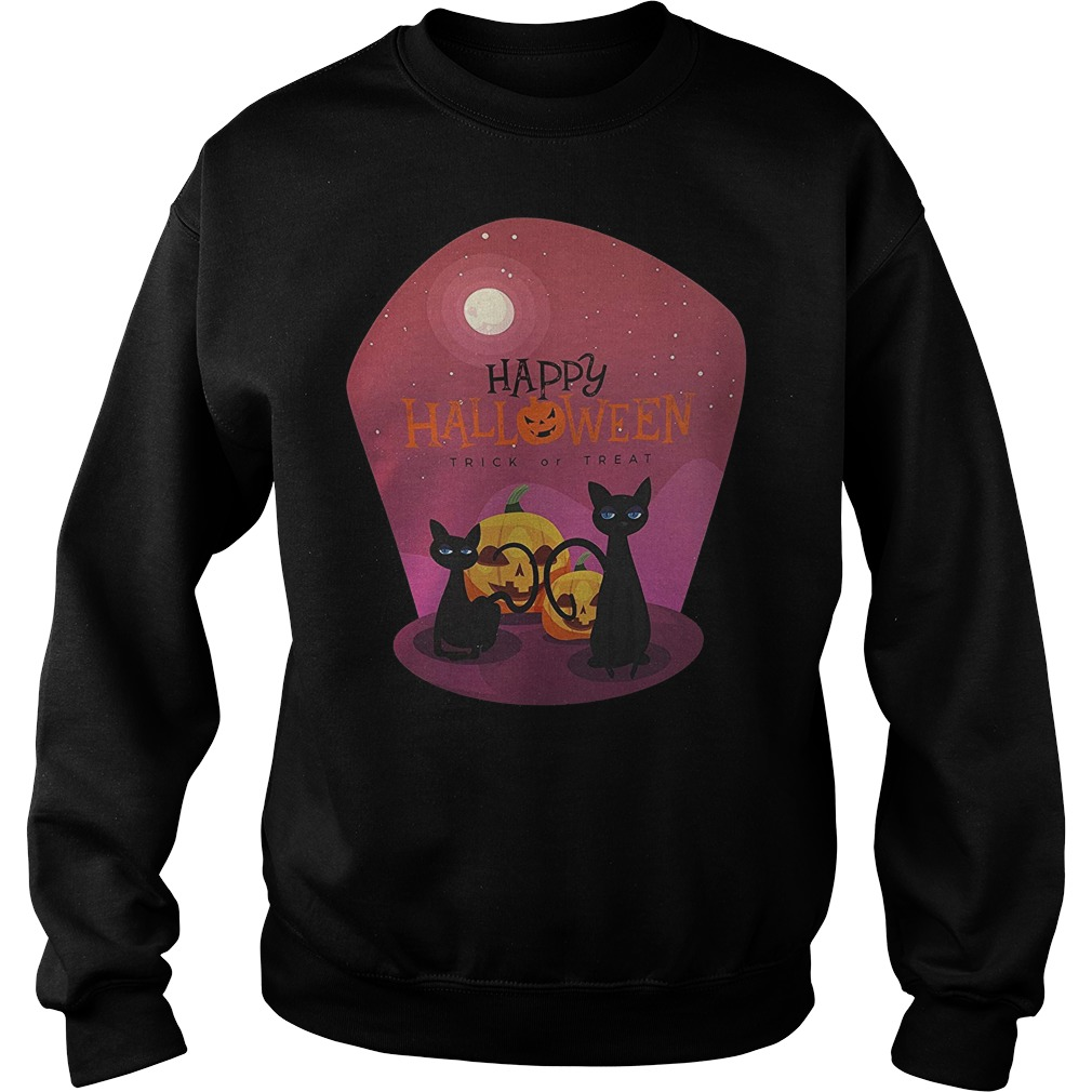 Pumpkin with black cat happy Halloween trick or treat Sweater