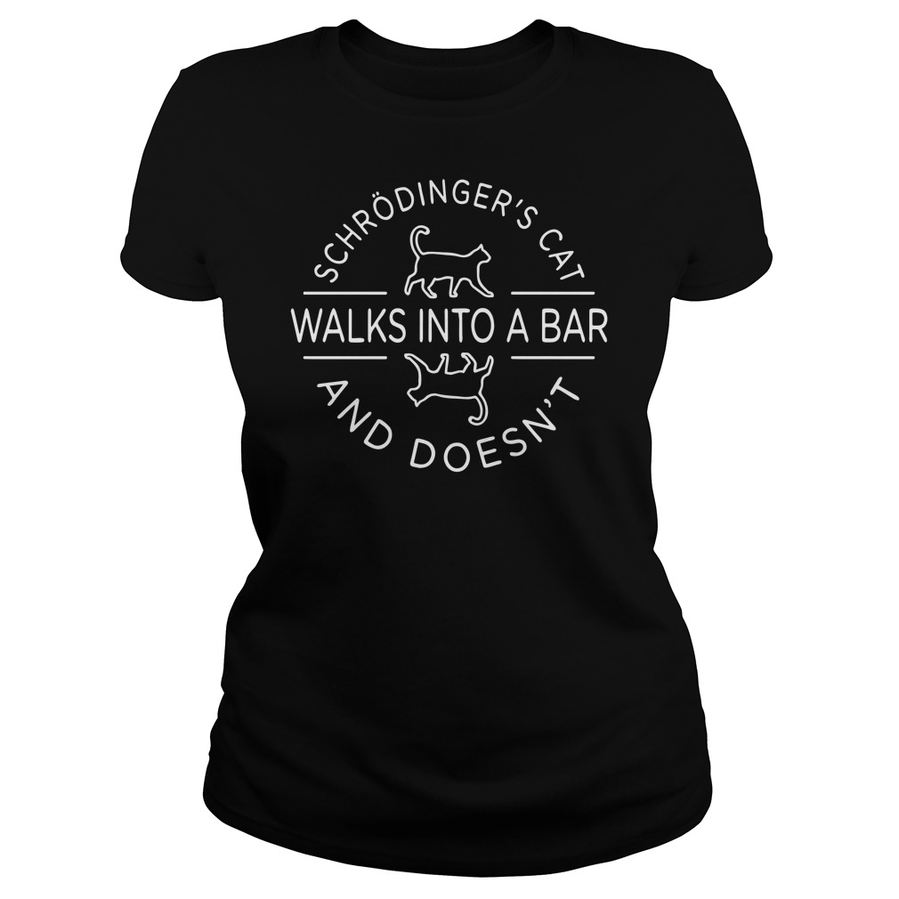 Schrodinger's cat walks into a bar and doesn't Ladies t-shirt