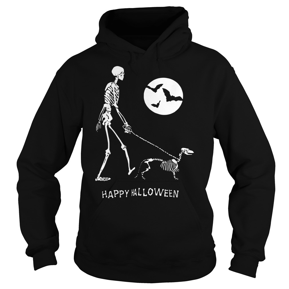Skeleton Corgi under moon light happy Halloween hoodie