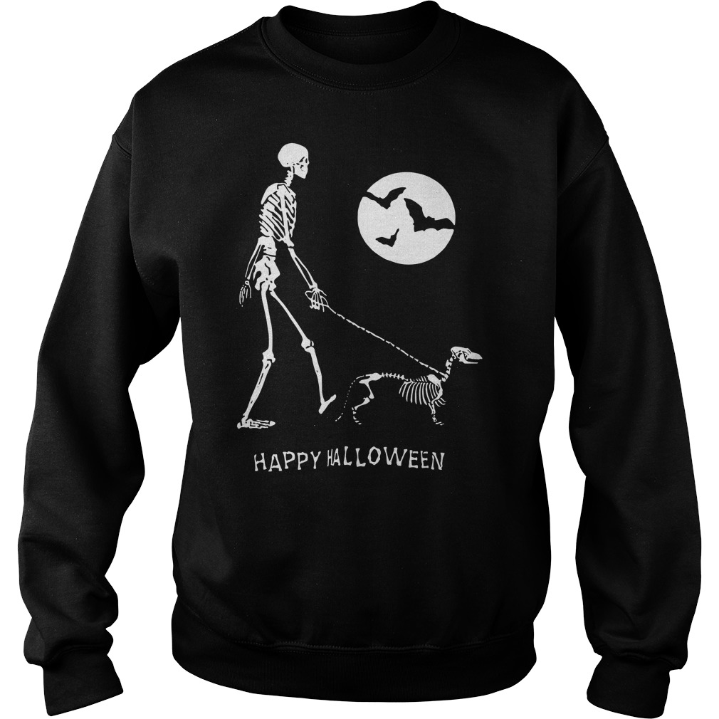 Skeleton Corgi under moon light happy Halloween Sweater