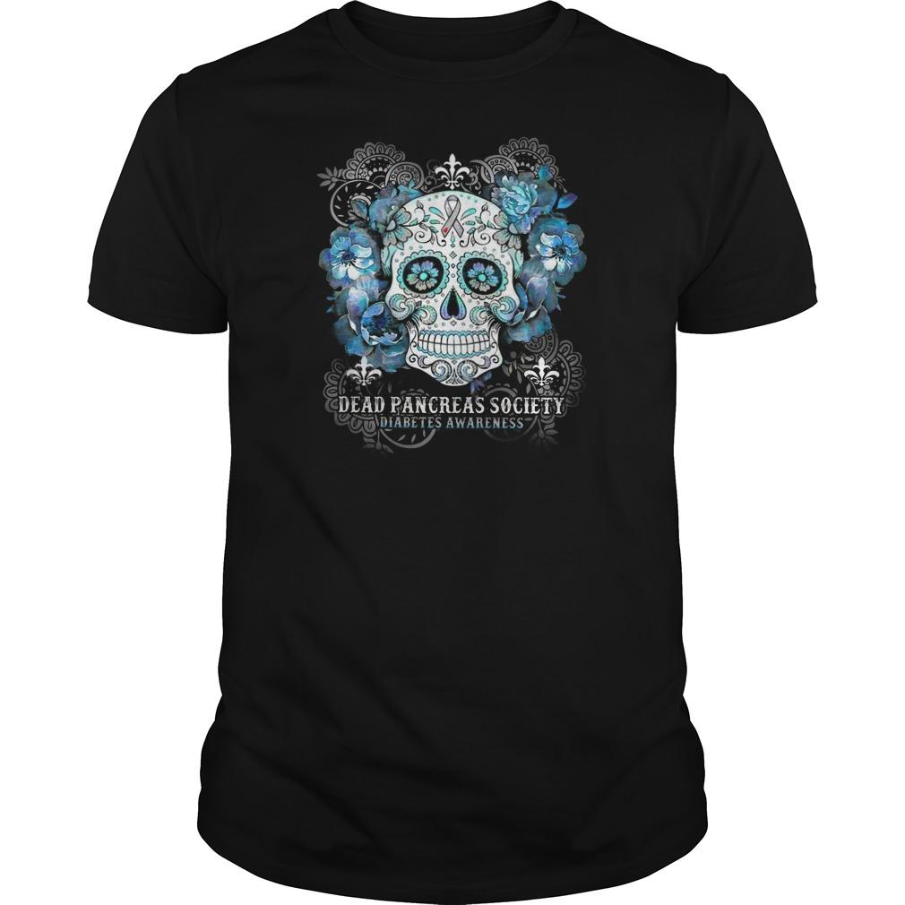 Skull Dead pancreas society diabetes awareness Guys t-shirt