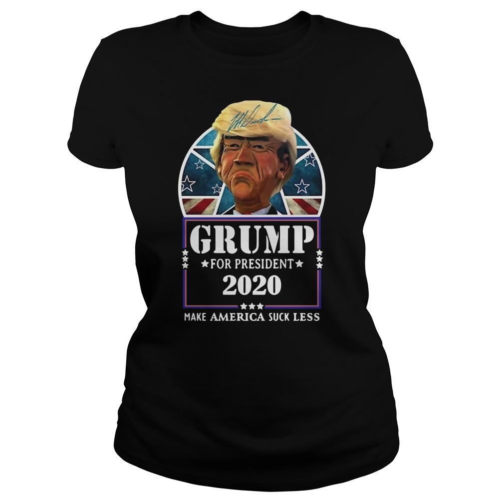Trump for president 2020 make America suck less Donald Trump Ladies t-shirt