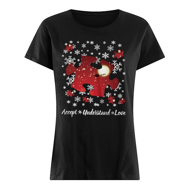 Autism Accept understand love Christmas Ladies t-shirt