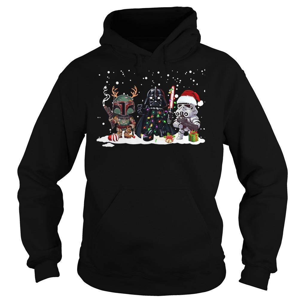 Boba fett Darth Vader R2D2 chibi Christmas Hoodie