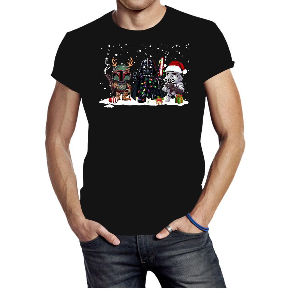 Boba fett Darth Vader R2D2 chibi Christmas shirt