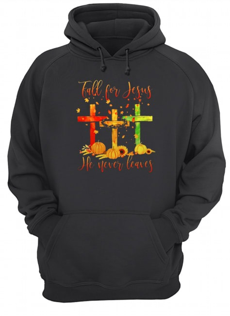 Fall for Jesus he never leaves Christmas Hoodie