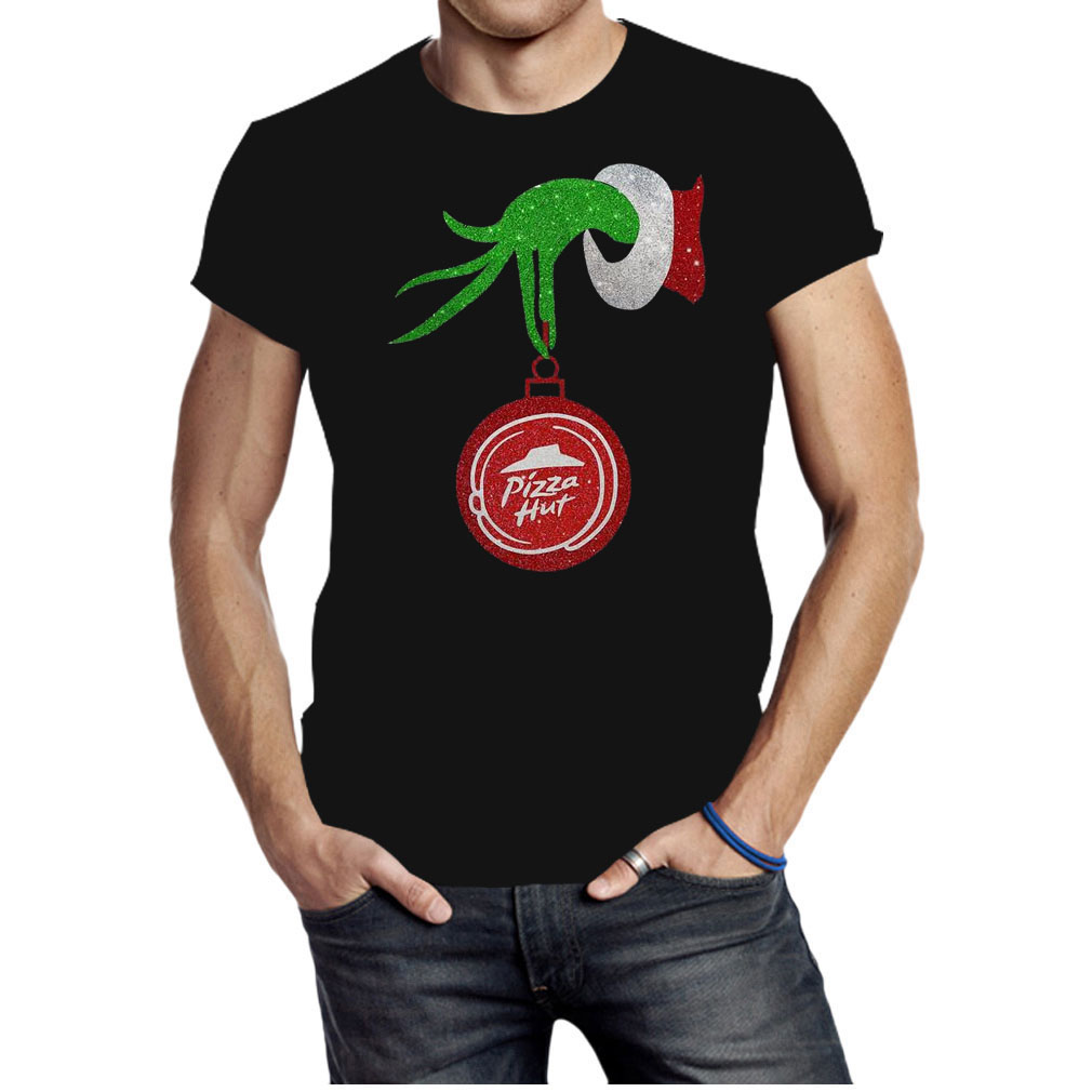 Grinch hand holding Pizza hut Christmas shirt