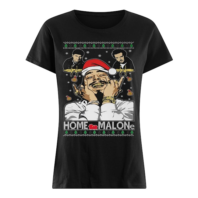 Home malone Ugly Christmas Ladies t-shirt