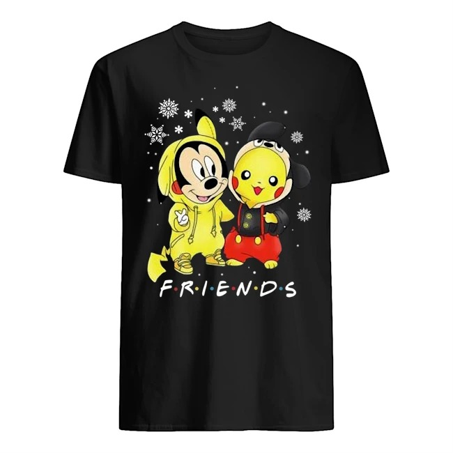 Mickey and Pikachu Friends Christmas Guys t-shirt