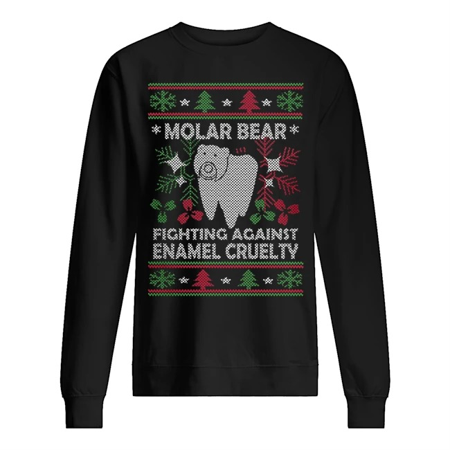 Molar bear fighting against enamel cruelty Ugly Christmas Sweater