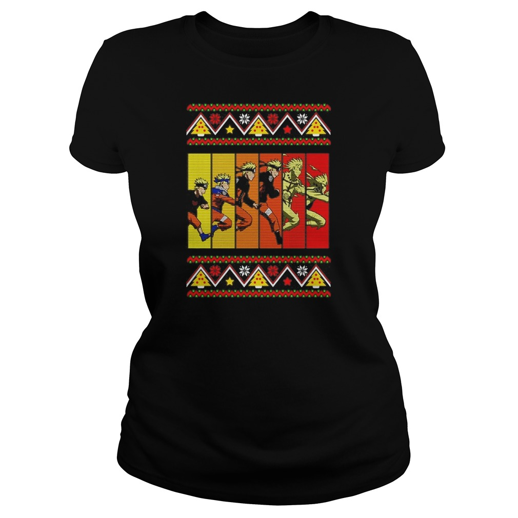 Naruto ninja evolution Ugly Christmas Ladies t-shirt