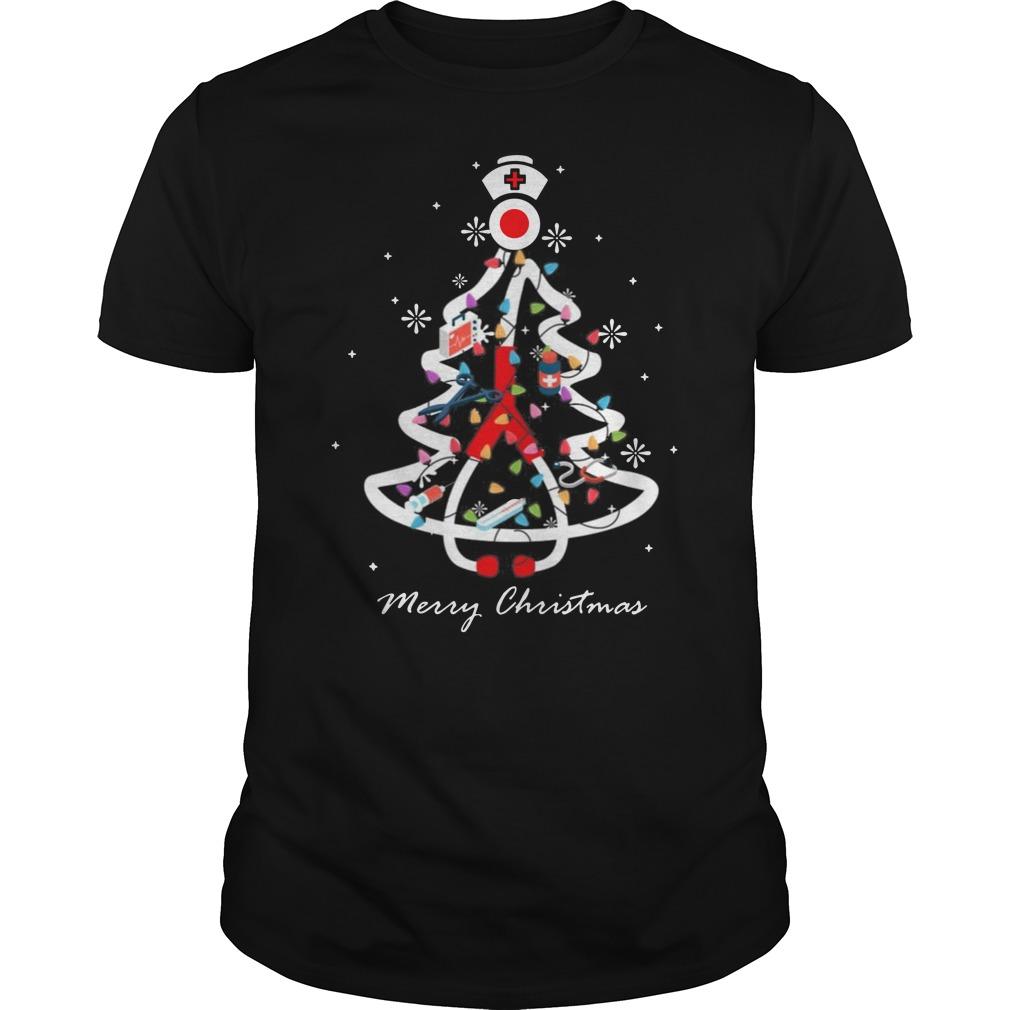 Nurse Christmas tree Merry Christmas Guys t-shirt