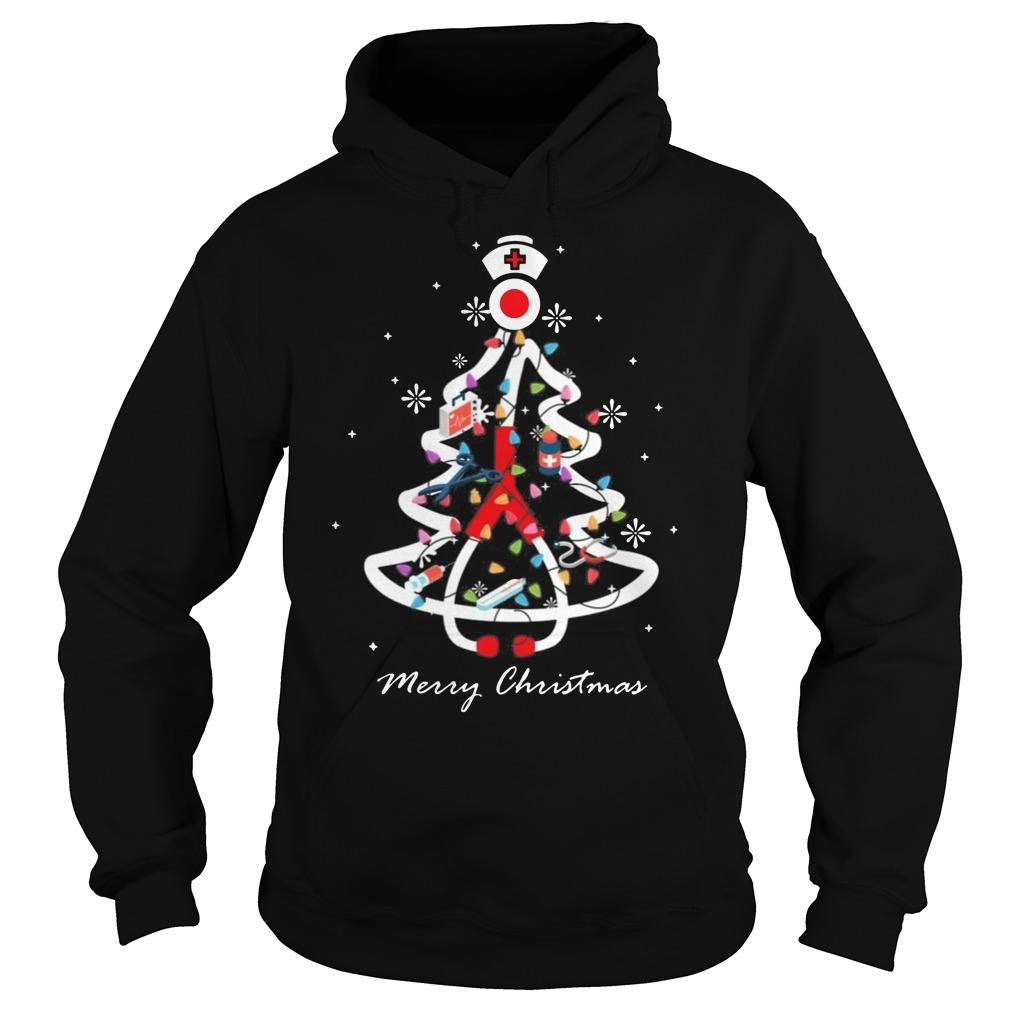 Nurse Christmas tree Merry Christmas Hoodie