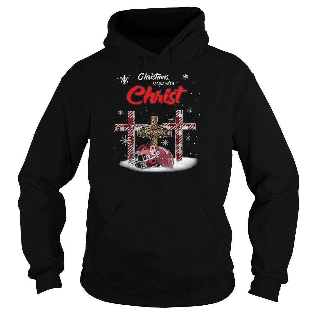 Oklahoma Sooners Christmas Begins With Christ Hoodie