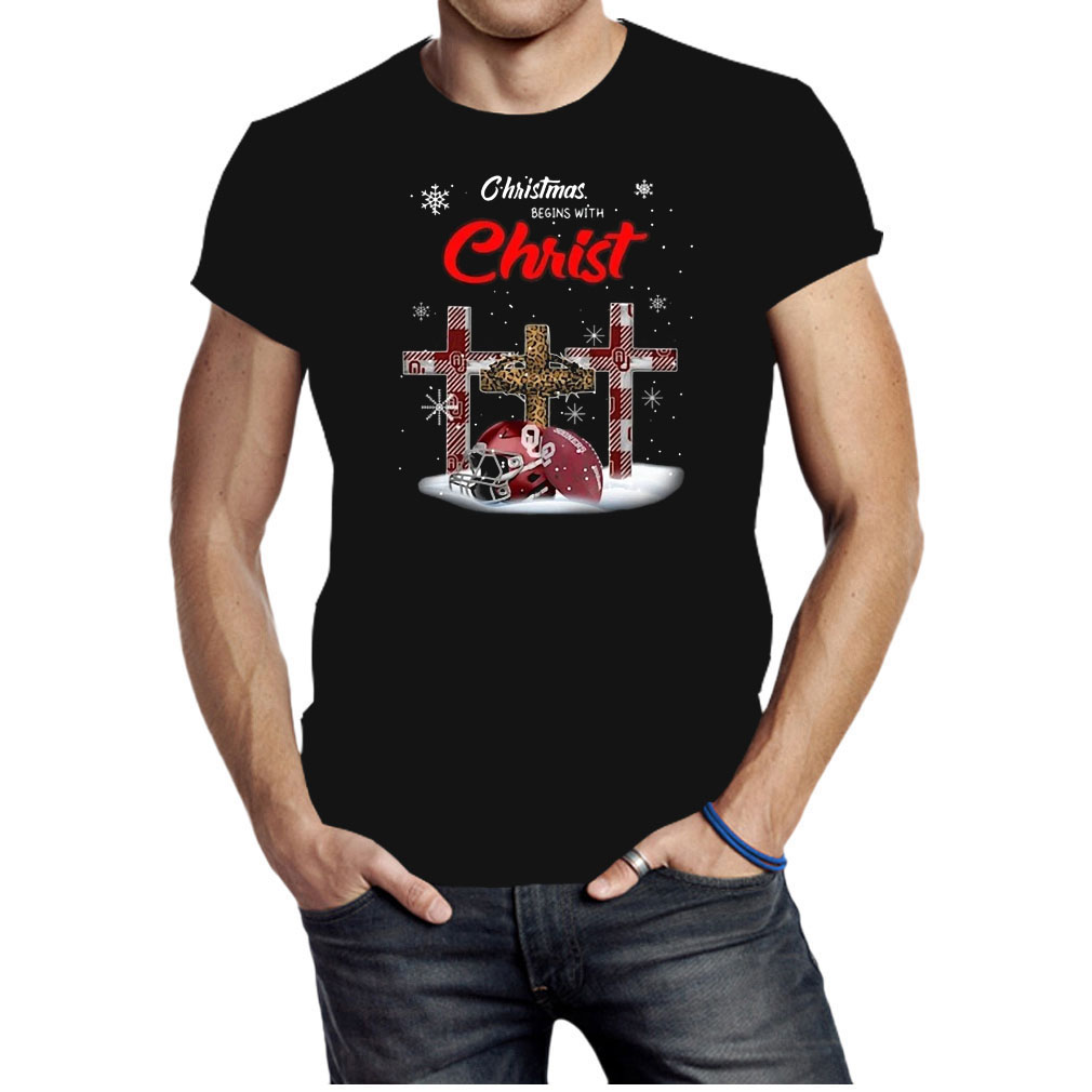 Oklahoma Sooners Christmas Begins With Christ shirt