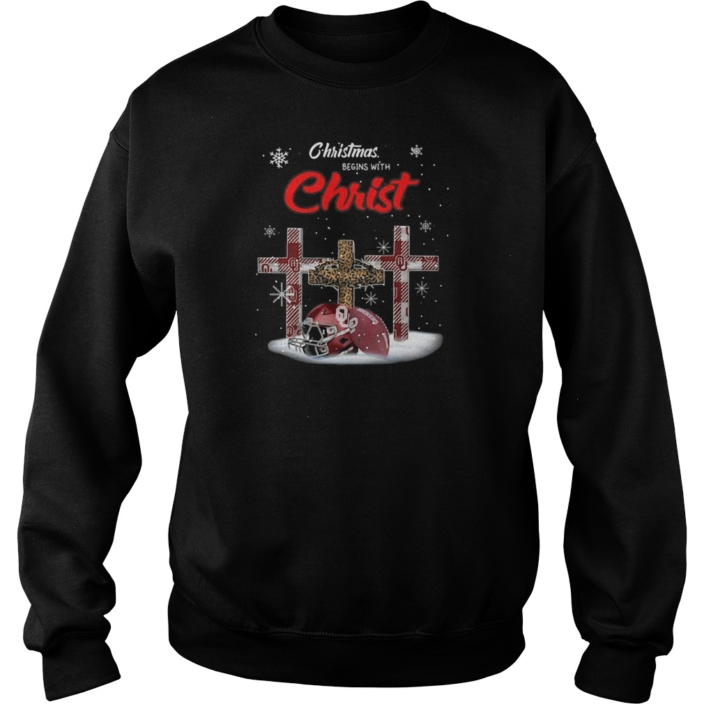 Oklahoma Sooners Christmas Begins With Christ Sweater