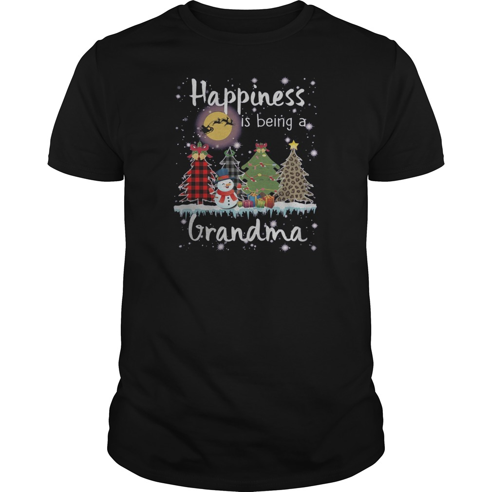 Snowman Happiness is being a grandma Christmas Guys t-shirt
