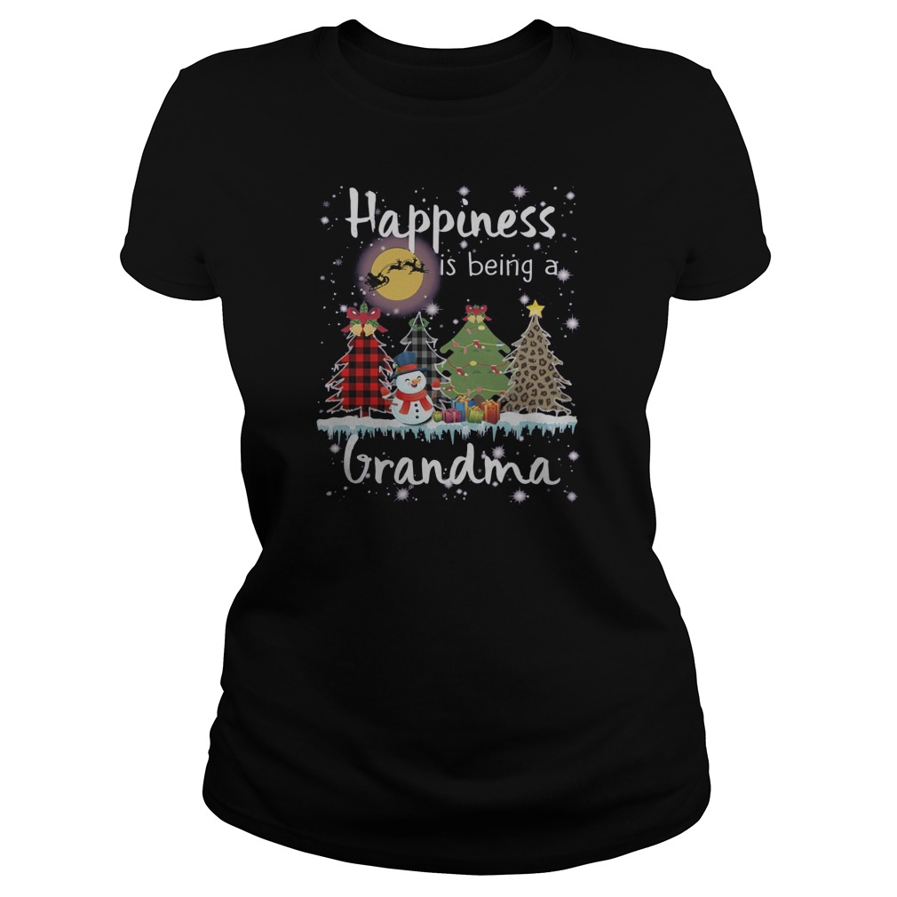 Snowman Happiness is being a grandma Christmas Ladies t-shirt
