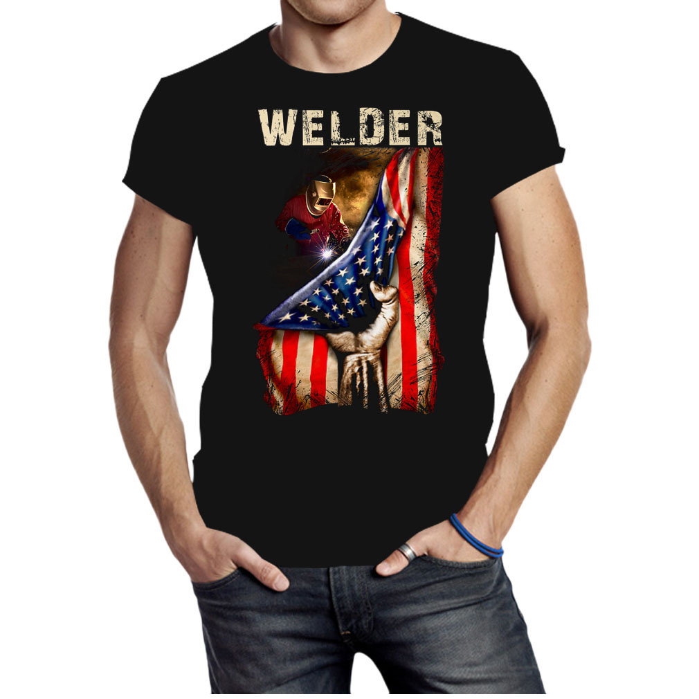 Proud Welder America flag shirt
