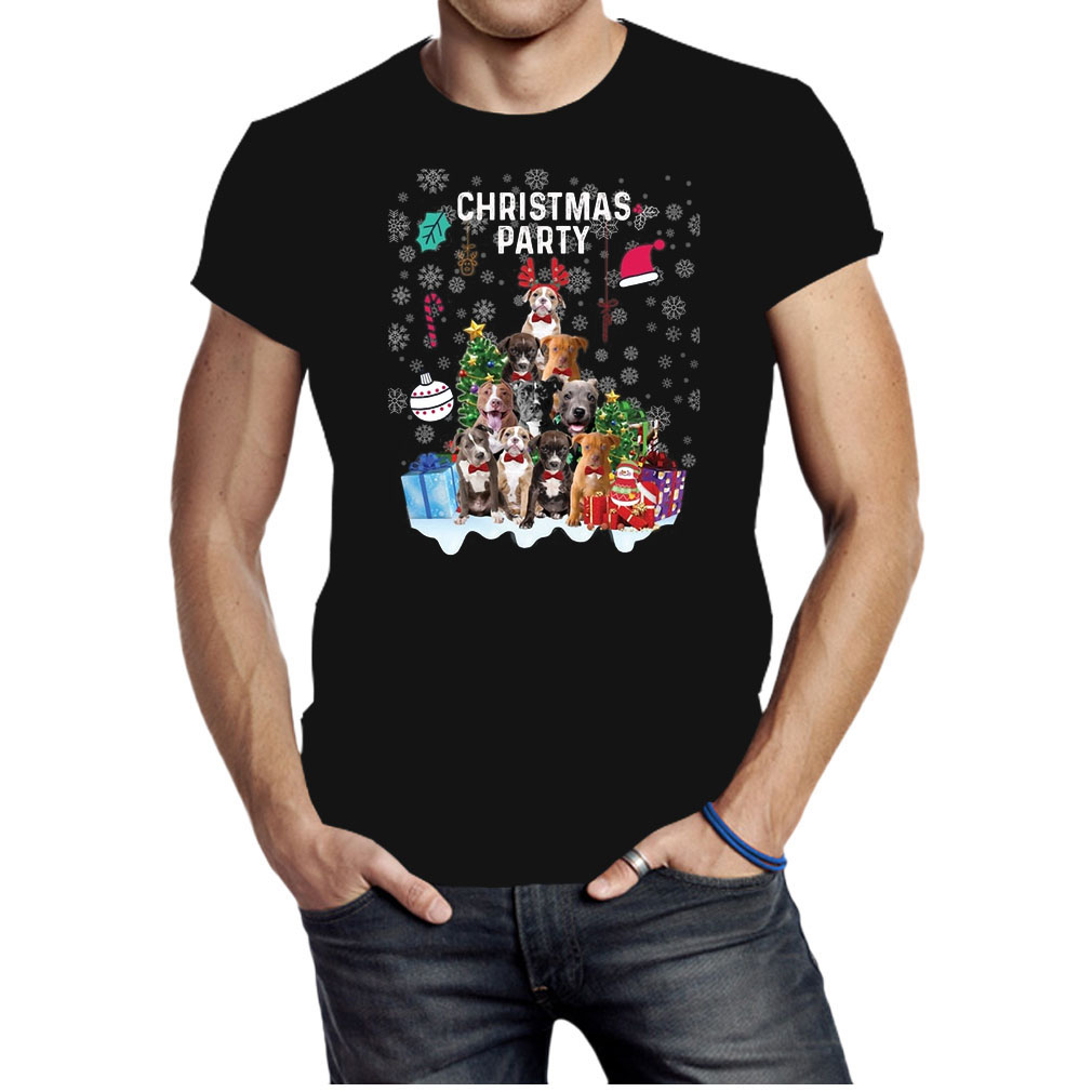 American Pit Bull Terrier Christmas party Xmas dogs shirt