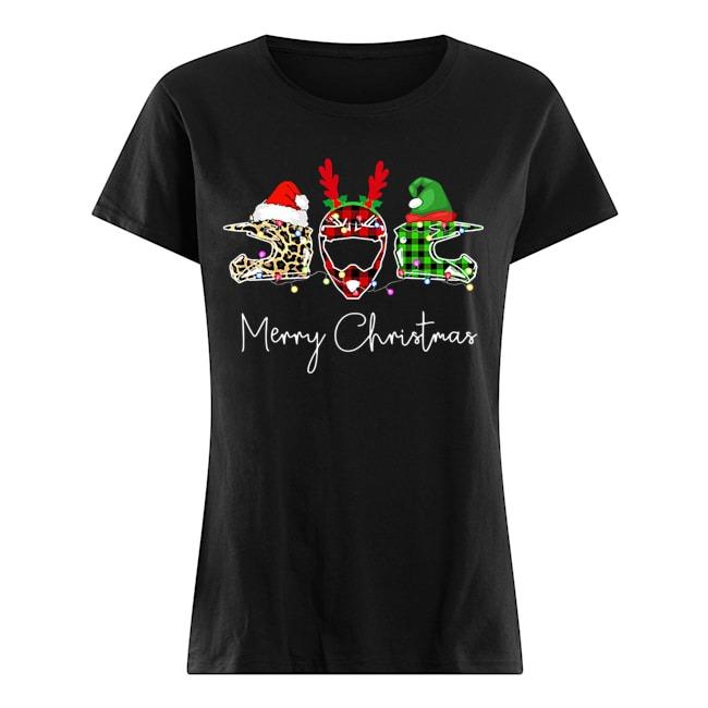 Motorbike Helmet Leopard Mery Christmas Ladies t-shirt