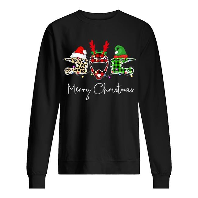 Motorbike Helmet Leopard Mery Christmas Sweater