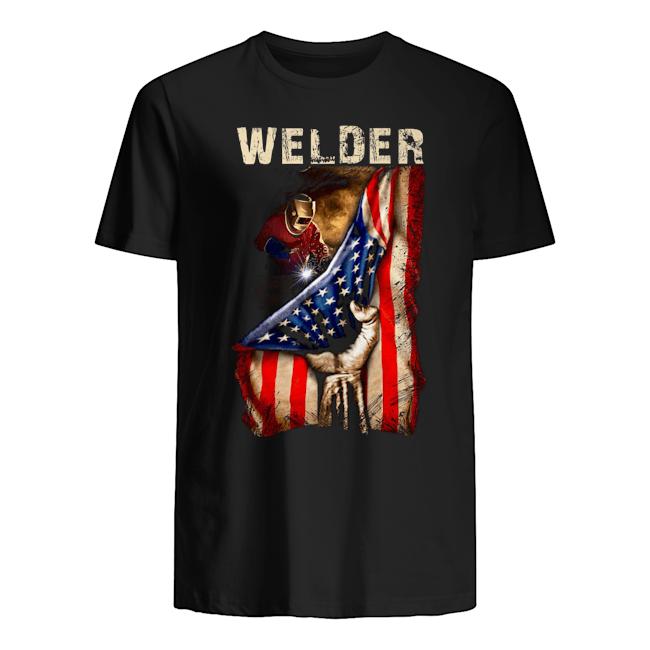 Proud Welder America flag Guys t-shirt